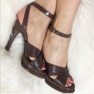 YSL Brown leather ankle strap heels  size 36